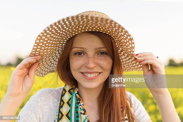 beauty of the summer - freckle stock photos and pictures