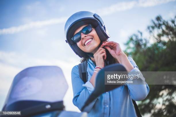beauty on scooter - sports helmet stock pictures, royalty-free photos & images
