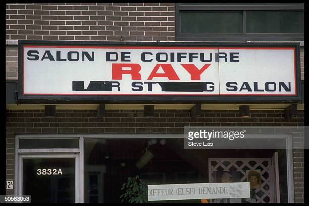 Beauty parlor w French Salon de Coiffure blacked out English signs