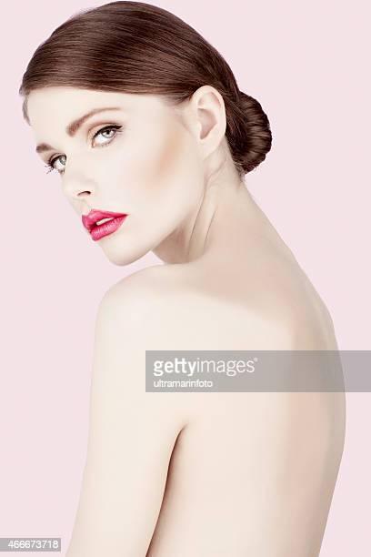 Beauty photo shot  young beautiful woman with glamour  Pink lipstick
