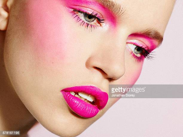 beauty - pink lipstick stock photos and pictures