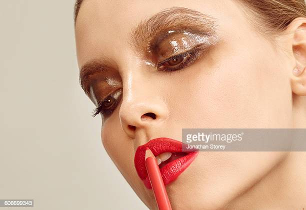 beauty - lip liner stock photos and pictures