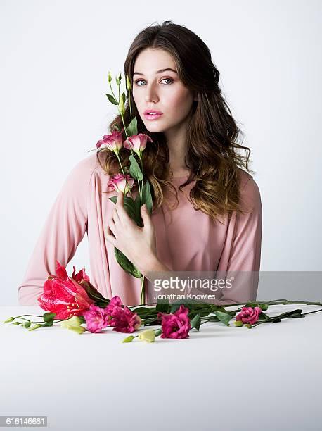 Beauty portrait, female with flowers