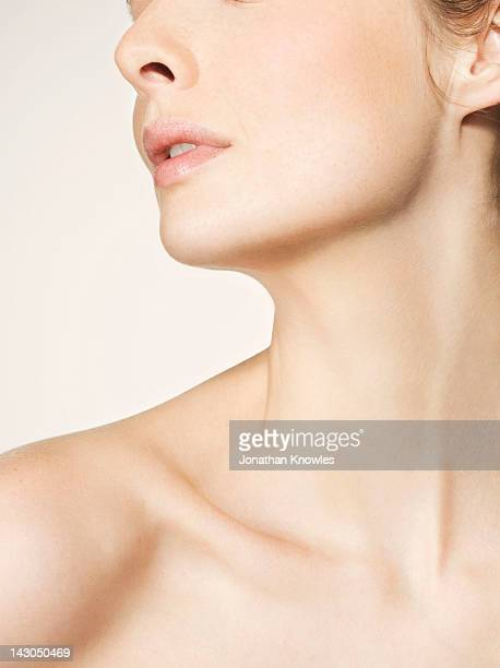 beauty portrait, nude, side view - beautiful bare breasted women stock pictures, royalty-free photos & images