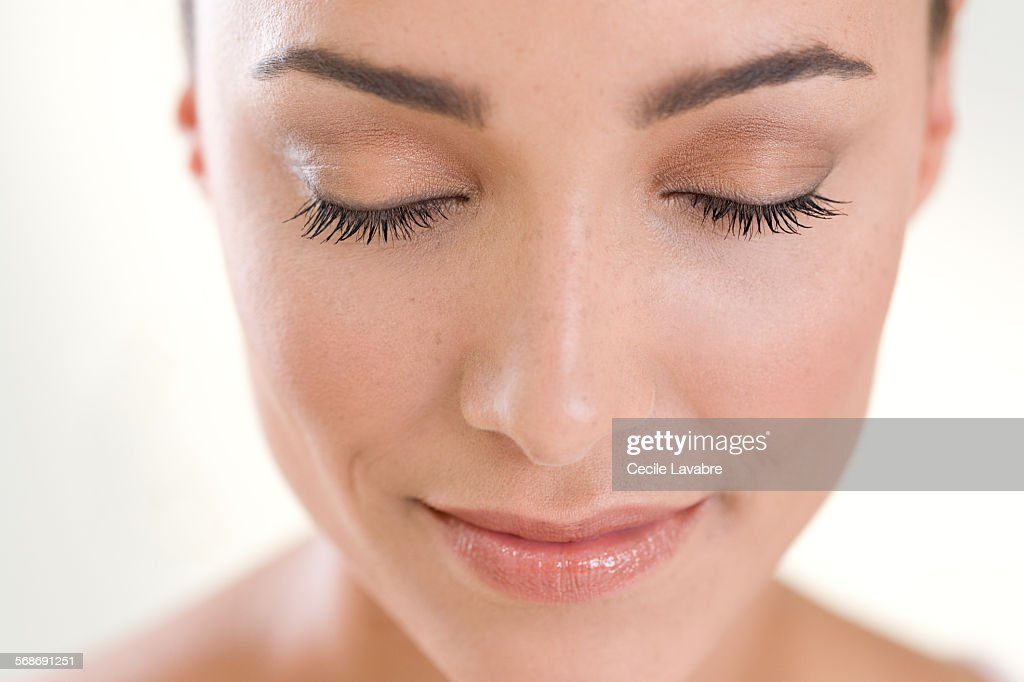 Beauty portrait of a closed-eyed woman : Stock Photo