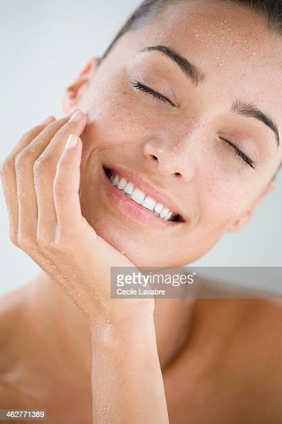 beauty portrait of a woman with wet face - beautiful bare breasted women stock pictures, royalty-free photos & images