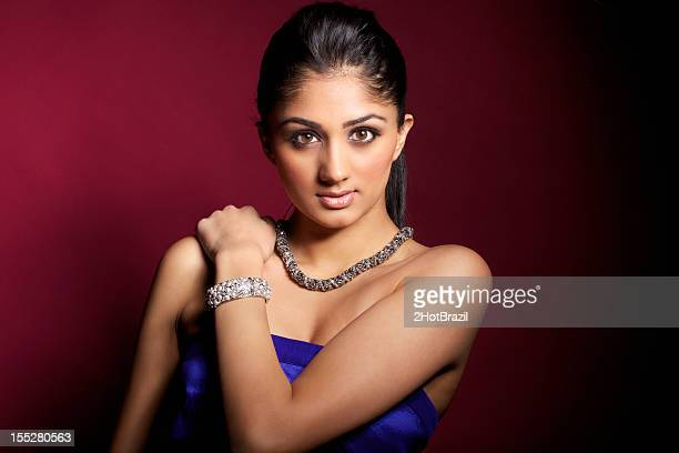 beauty portrait of a young woman - hot indian model stock pictures, royalty-free photos & images
