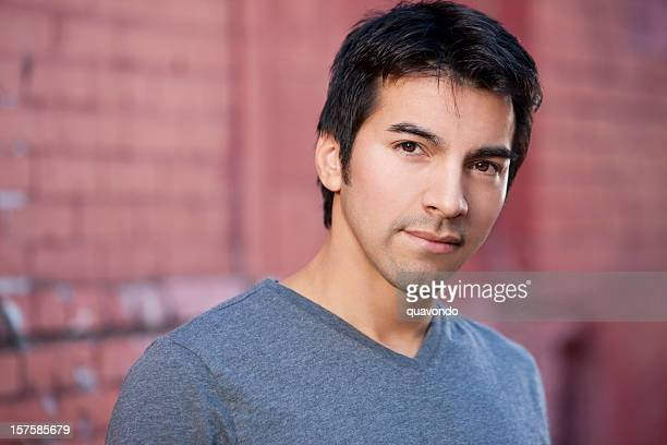 Beauty Portrait of Handsome Hispanic Young Male, Outdoors, Copy Space