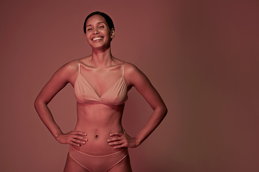 Beauty portrait of laughing woman in underwear - gettyimageskorea