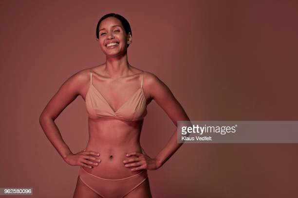 beauty portrait of laughing woman in underwear - femmes en culottes photos et images de collection