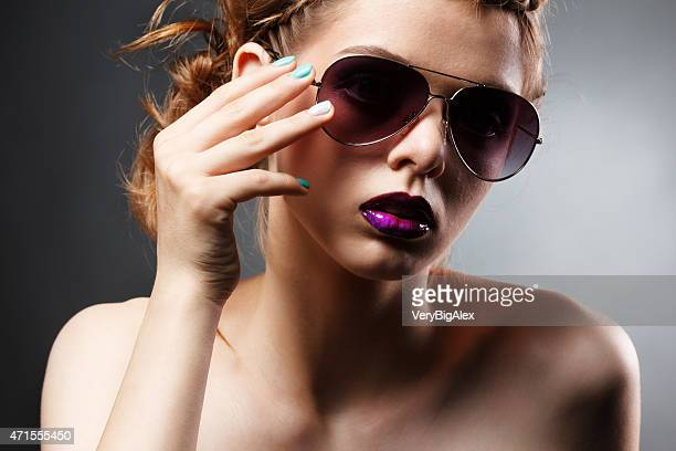 beauty portrait of model wearing sunglasses - big lips stock photos and pictures