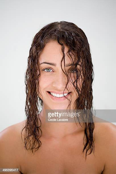 Beauty portrait of woman with wet hair