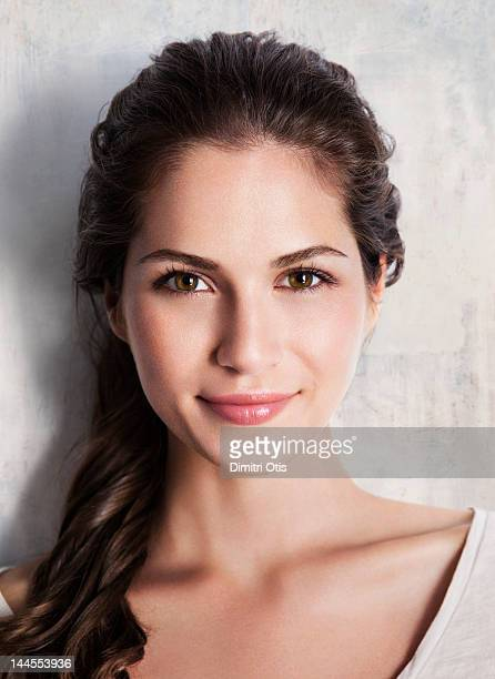 Beauty portrait of young brunette woman smiling