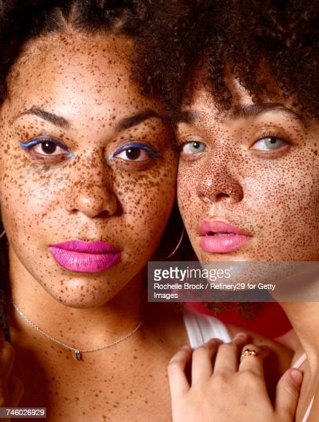 Beauty Portrait of Young Confident Women with Freckles