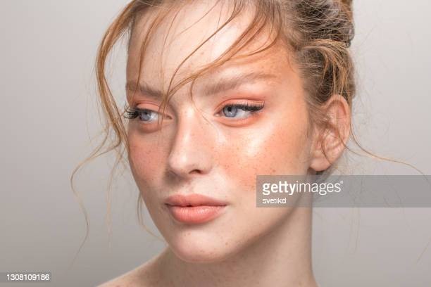 beauty portrait of young woman - peach colour stock pictures, royalty-free photos & images