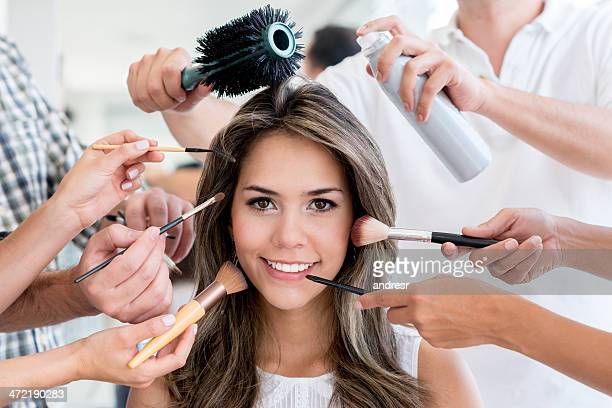 beauty portrait - visagist stockfoto's en -beelden