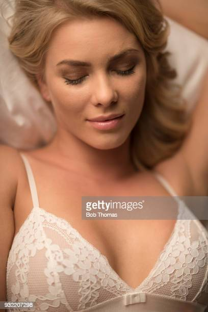 beauty portrait - women in slips stock photos and pictures