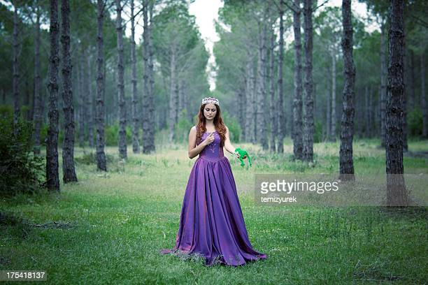 beauty princess with frog in forest - prins koninklijk persoon stockfoto's en -beelden