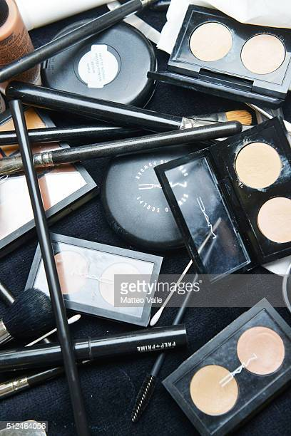 Beauty products are displayed backstage ahead of the Marco De Vincenzo show during Milan Fashion Week Fall/Winter 2016/17 on February 26 2016 in...