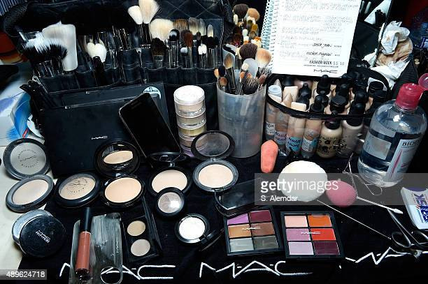 Beauty products are displayed backstage ahead of the Stella Jean show during Milan Fashion Week Spring/Summer 2016 on September 23, 2015 in Milan,...