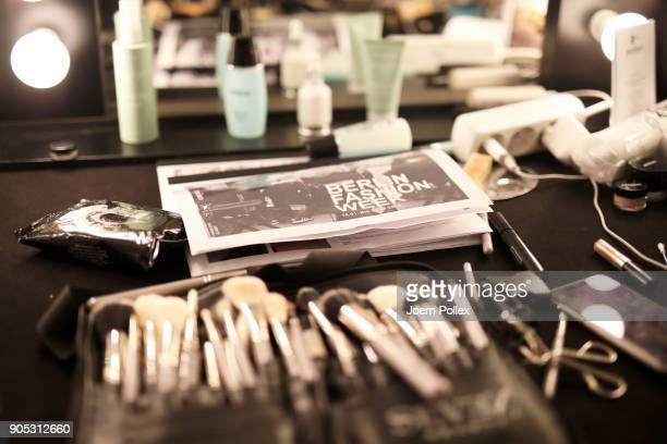 Beauty products are on display ahead of the Dawid Tomaszewski show during the MBFW January 2018 at ewerk on January 15 2018 in Berlin Germany