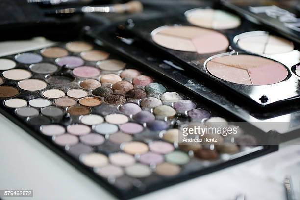 Beauty products backstage ahead of the Unique show during Platform Fashion July 2016 at Areal Boehler on July 23 2016 in Duesseldorf Germany