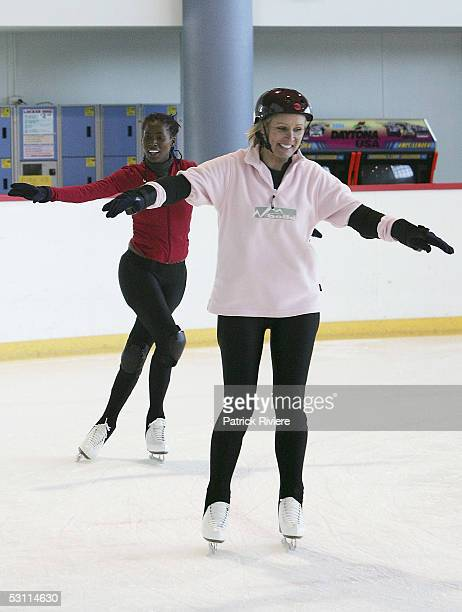 "Beauty queen Belinda Green attends a training session in preparation for the new TV series ""Skating On Thin Ice"" at the Sydney Ice Arena on June 22,..."