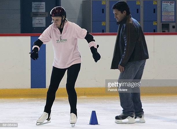 "Beauty Queen Belinda Green is suprervised by TV host Jamie Durie during a training session in preparation for the new TV series ""Skating On Thin Ice""..."