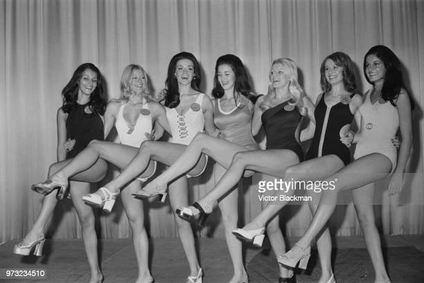 Beauty queens contestants at the 22nd edition of the Miss World pageant Anita Marques Stephanie Elizabeth Reinecke Jennifer Mary McAdam Lynda Carter...
