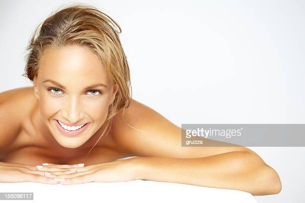 Beauty shot of beautiful, blonde woman waiting for spa treatment