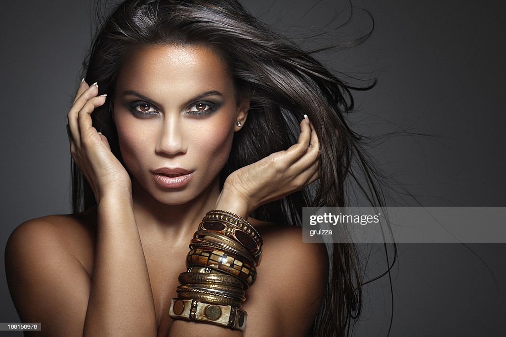 Beauty Shot of Beautiful, Mixed-race Woman with Long Fluttering Hair : Stock Photo