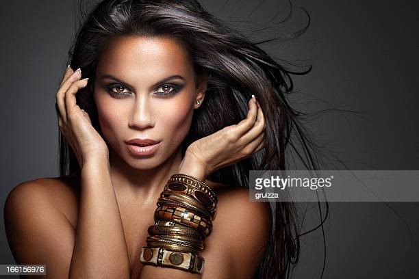 Beauty Shot of Beautiful, Mixed-race Woman with Long Fluttering Hair