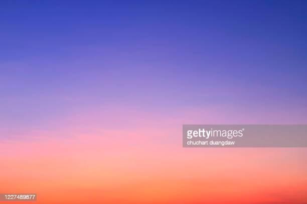 beauty sky of soft pastel pink and violet clouds at sunrise springtime - sunset imagens e fotografias de stock