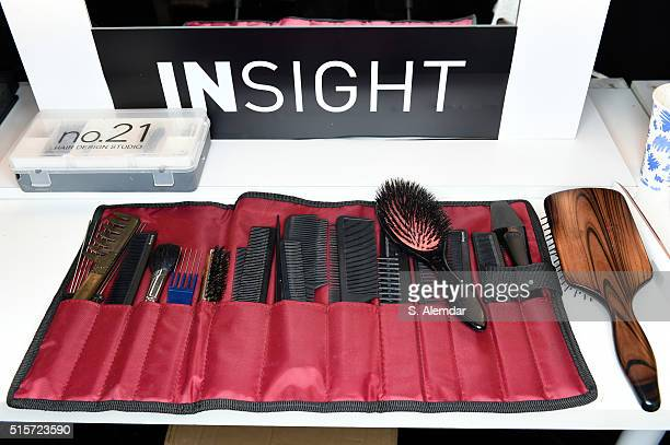 Beauty technicians equipment is seen during the Mercedes-Benz Fashion Week Istanbul Autumn/Winter 2016 at Zorlu Center on March 15, 2016 in Istanbul,...