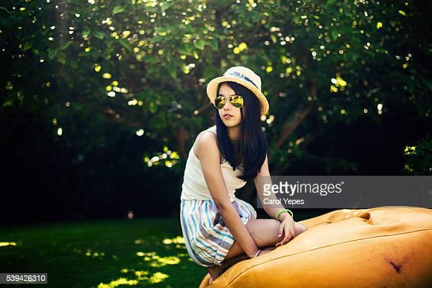 beauty teen in beanbag