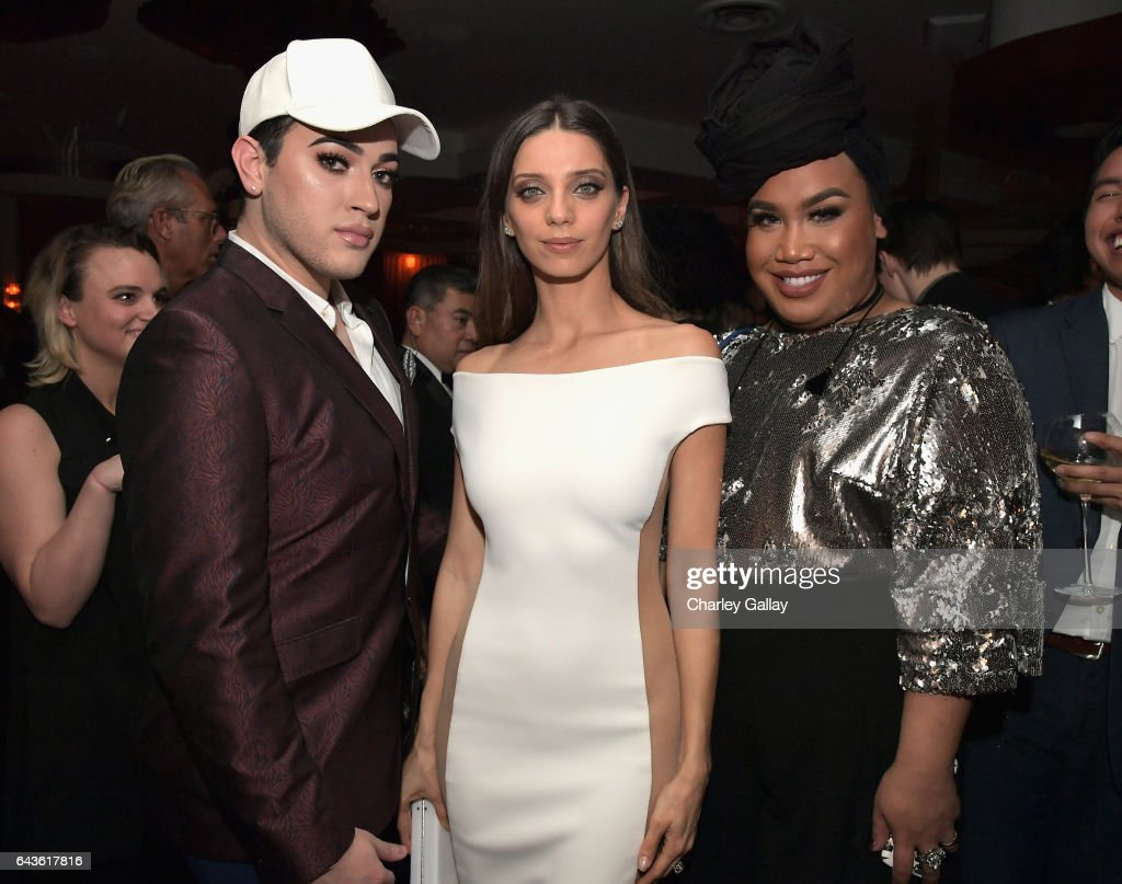Beauty vloggers Manny Mua (L) and Patrick Starrr (R) and actor Angela Sarafyan attend Vanity Fair and L'Oreal Paris Toast to Young Hollywood hosted by Dakota Johnson and Krista Smith at Delilah on February 21, 2017 in West Hollywood, California.