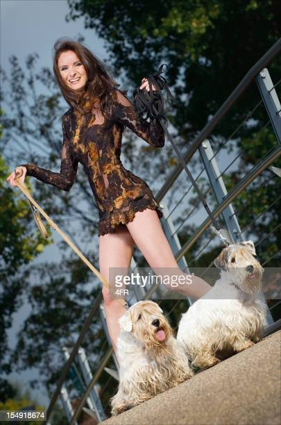 Beauty with Dogs