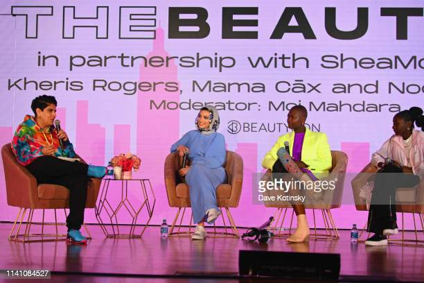Beautycon CEO and CoFounder Moj Mahdara Noor Tagouri Mama Cax and Kheris Rogers speak on stage at Beautycon Festival New York 2019 on April 07 2019...