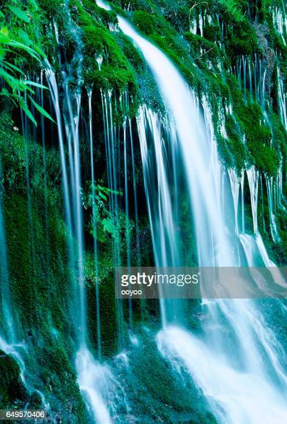 beautyful mossy waterfalls in the forest - waterfall stock photos and pictures