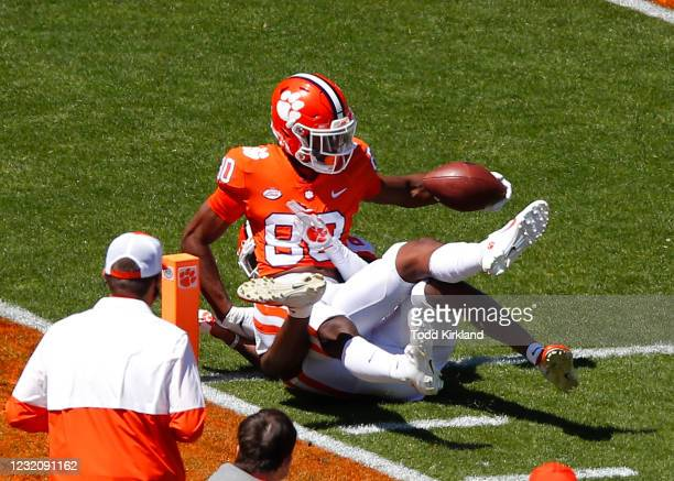 Beaux Collins of the Clemson Tigers reaches. In for a touchdown during the Clemson Orange and White Spring Game at Memorial Stadium on April 3, 2021...