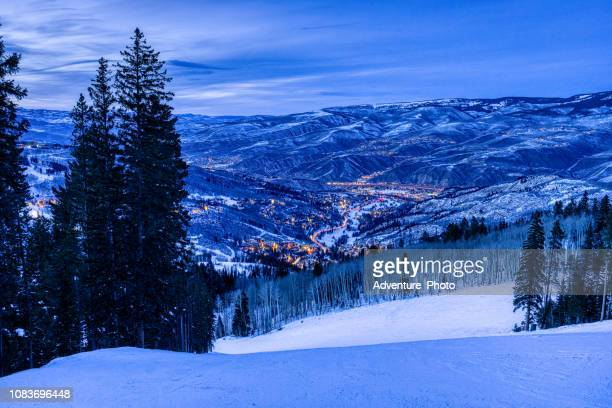 beaver creek colorado scenic view at dusk - beaver creek colorado stock pictures, royalty-free photos & images