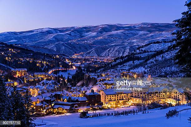 Beaver Creek Resort Winter Skiing at Dusk