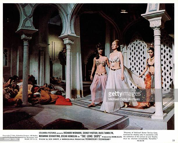 Beba Loncar walks through a palace in a scene from the film 'The Long Ships' 1964