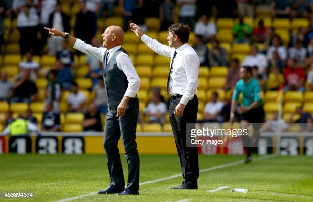 Bebbe Sannino manager of Watford and Dougie Freedman manager of Bolton Wanderers urge on their sides during the Sky Bet Championship match between...