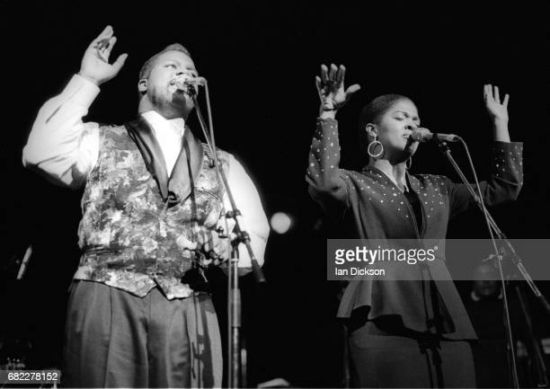 BeBe and CeCe Winans performing on stage at Hackney Empire London 02 November 1989