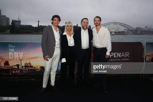 BeBe Bettencourt and Robert Connelly pose alongside cast members during the Sydney premiere of The Dry on December 15, 2020 in Sydney, Australia.