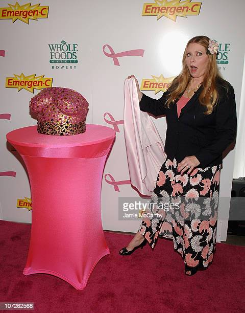 Bebe Buell unveils plaster cast of her breasts to be auctioned off for charity at the Kick Off Breast Cancer Awarness Month with the Launch of...