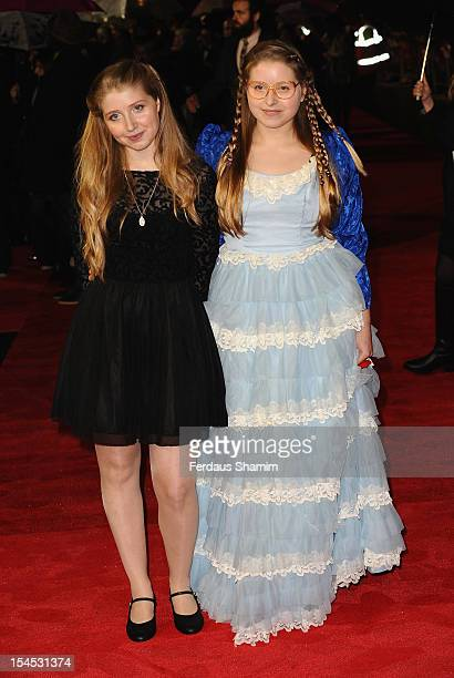 Bebe Cave and Jessie Cave attend the premiere of 'Great Expectations' which closes the 56th BFI London Film Festival at Odeon Leicester Square on...