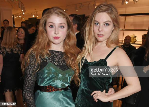Bebe Cave and Nell Hudson attend the Burberry BAFTA Breakthrough Brits 2017 at the global Burberry flagship on October 25 2017 in London England