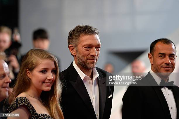 Bebe Cave Vincent Cassel and Matteo Garrone attend the Premiere of Il Racconto Dei Racconti during the 68th annual Cannes Film Festival on May 14...